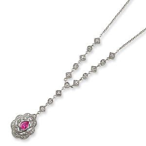 16in Sterling Silver CZ and Pink CZ Necklace