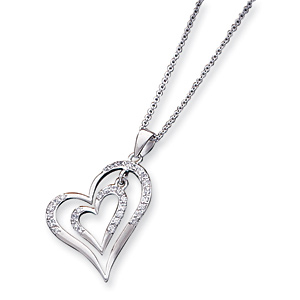 16in Sterling Silver CZ Double Heart Necklace