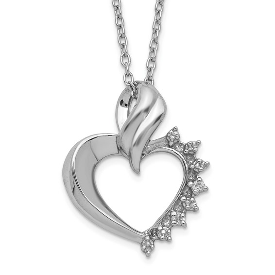 Sterling Silver 5/8in Diamond Heart Pendant on 18in Necklace