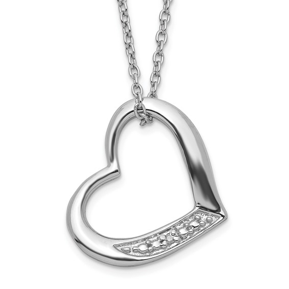 Sterling Silver Open Heart with Diamond Slide 18in Necklace