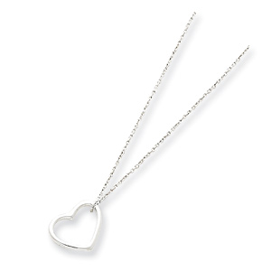 Sterling Silver 1/2in Outline Heart Pendant on 16in Chain