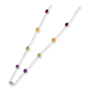 16in Sterling Silver Multi CZ Station Necklace