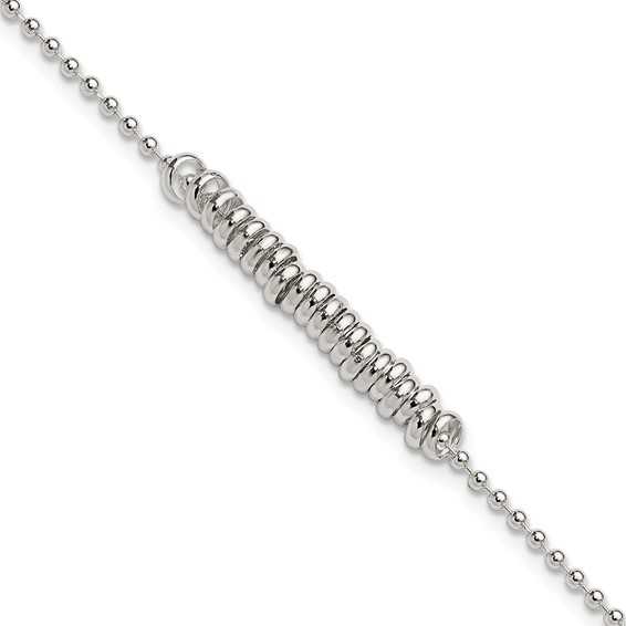 10in Love Rings Anklet - Sterling Silver