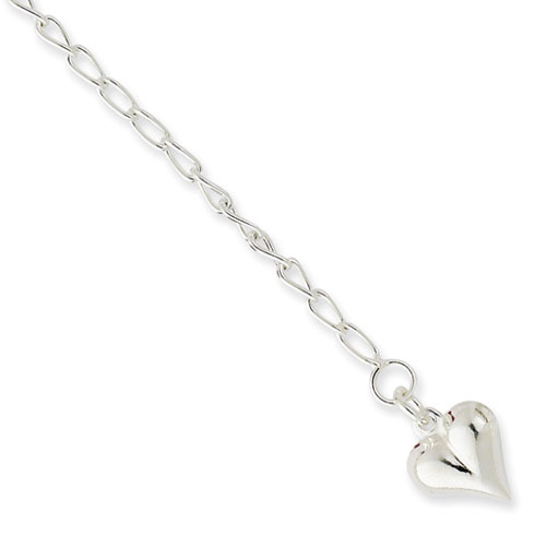 Sterling Silver 9in Italian Puffed Heart Anklet