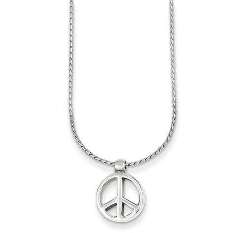Peace Sign Charm & 16in Chain - Sterling Silver