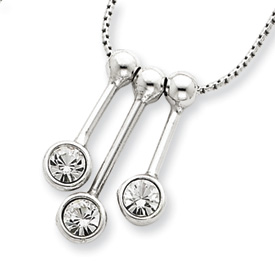 Sterling Silver 3 CZ Dangle Charms & 16in Chain