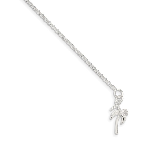 9in Sterling Silver Palm Tree Rolo Anklet
