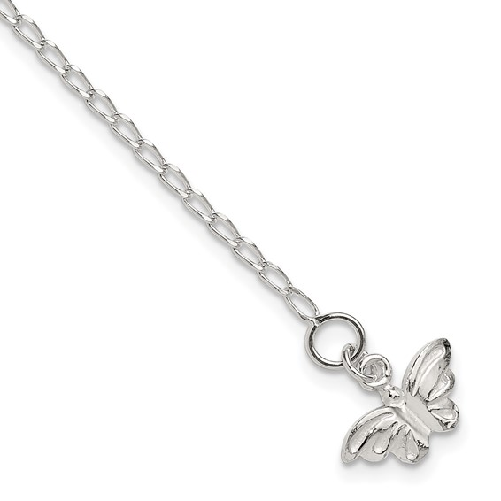 Sterling Silver 10in Butterfly Anklet
