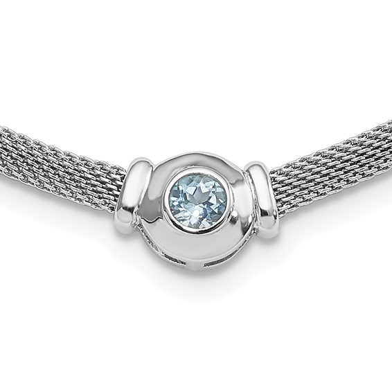 Sterling Silver 5mm Blue Topaz Mesh Necklace 16in