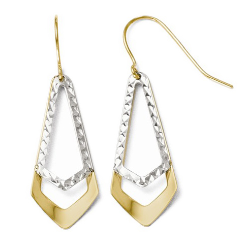 10kt Two-tone Gold Pointed Diamond-cut Dangle Earrings