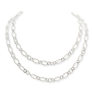 Sterling Silver Braided Oval Link Fancy Necklace 42in