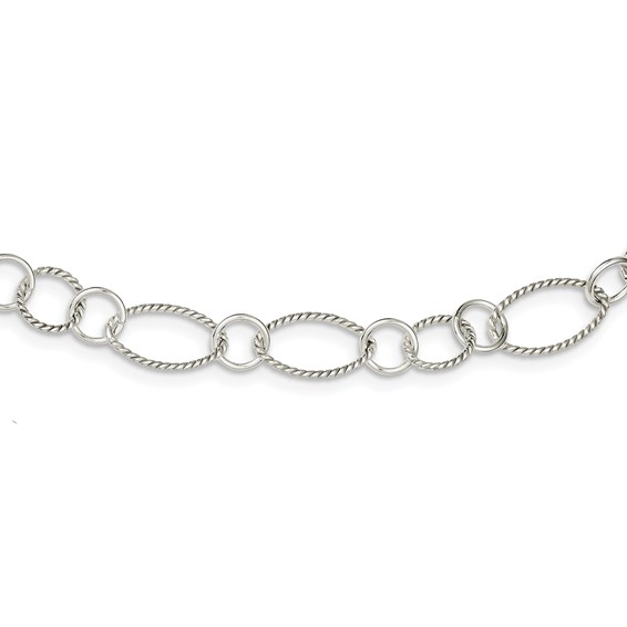 42in Sterling Silver Fancy Link Necklace