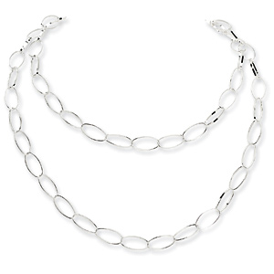 Sterling Silver Fancy Polished Oval Link Necklace 42in