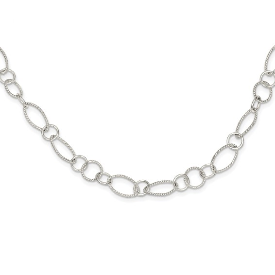 18in Fancy Link Necklace - Sterling Silver