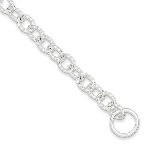 Sterling Silver Polished Textured Link Toggle Bracelet 7.75in