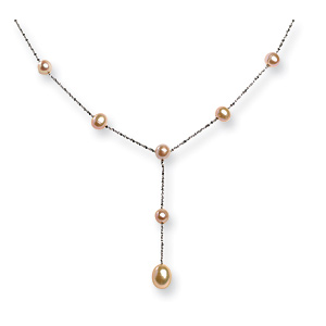 Sterling Silver Freshwater Cultured Peach Pearl Drop 17in Necklace