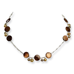 Cultured Pearl and Mother of Pearl Necklace 16in - Sterling Silver