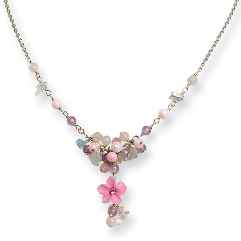 Sterling Silver 16in Blue Topaz Chip Pink Agate Amethyst Necklace