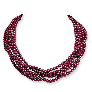 5.5-6mm Freshwater Cultured Magenta Pearls 100in Knotted Stand