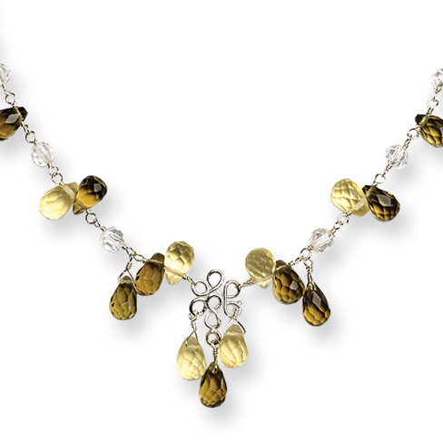 16in Sterling Silver Smoky Yellow Clear Crystal Necklace