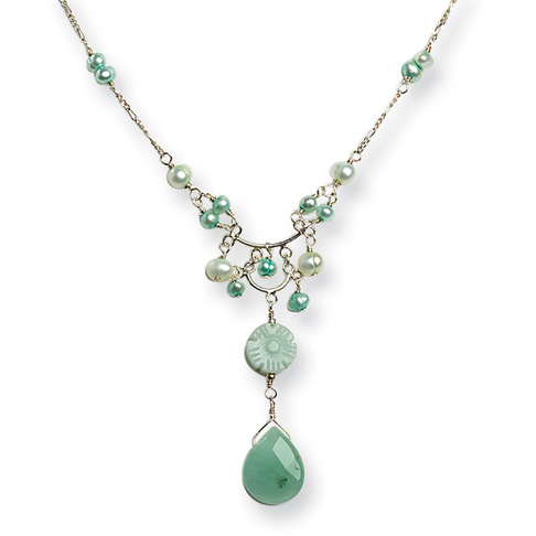 16in Sterling Silver Amazonite Freshwater Cultured Green Pearl Necklace
