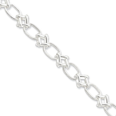 Sterling Silver 7.75in Polished Fancy Link Bracelet