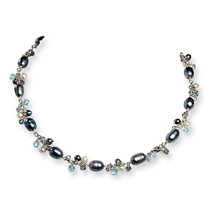 Sterling Silver 16in Blue Crystal Cultured Peacock Pearl Necklace