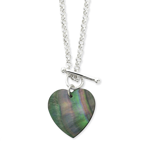16in Sterling Silver Mother of Pearl Heart Disc on Fancy Toggle Necklace