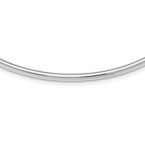 Sterling Silver 18in Hollow Polished Neck Collar Necklace 4mm