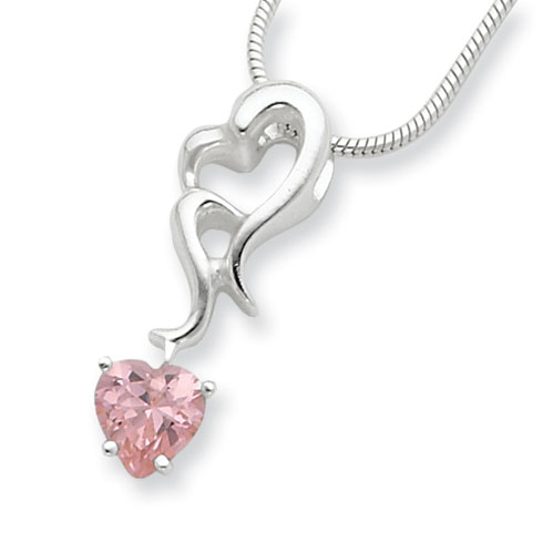 Sterling Silver Pink CZ Hearts Pendant Necklace