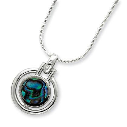 Sterling Silver Abalone Pendant with 16in Chain