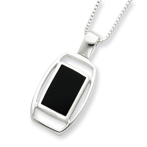 16in Onyx Necklace - Sterling Silver