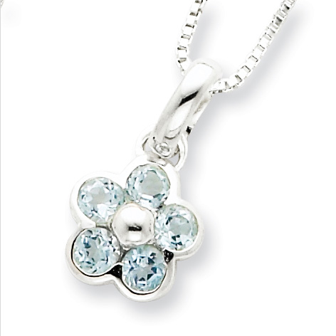 Flower Blue Topaz Necklace 16in - Sterling Silver