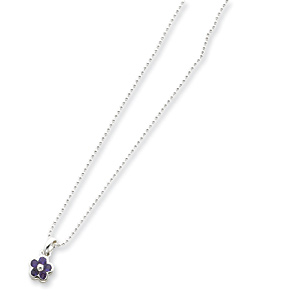 Flower Amethyst Pendant with 16in Chain - Sterling Silver