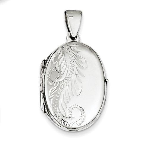 Sterling Silver 1 1/8in Oval Patterned Locket
