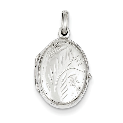 Sterling Silver 3/4in Reversible Floral Oval Locket