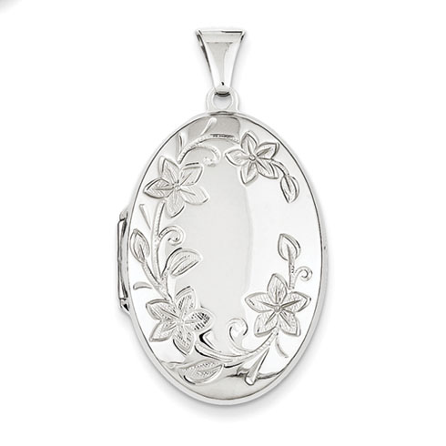 Sterling Silver 1 1/4in Floral Oval Locket