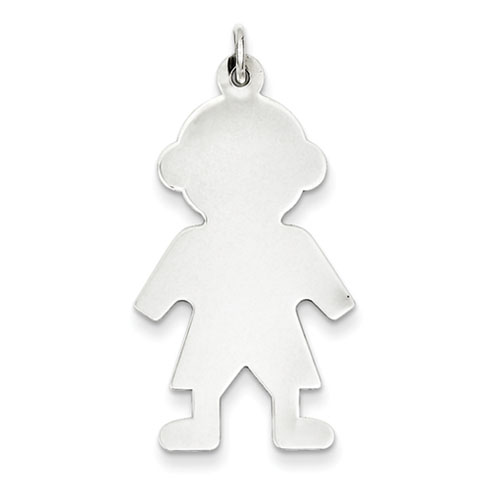 Sterling Silver Engravable Boy Figure Pendant 1 1/4in