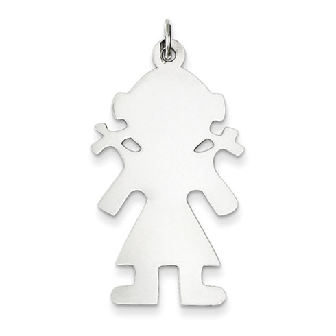 Sterling Silver Engravable Girl Disc Charm