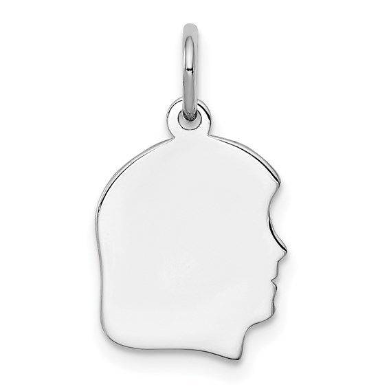 Sterling Silver 1/2in Engravable Girl Profile Charm