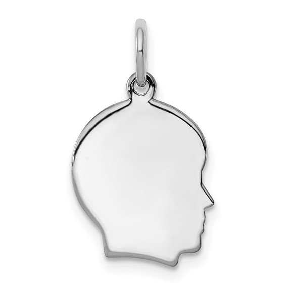 Sterling Silver 1/2in Engravable Boy Profile Charm