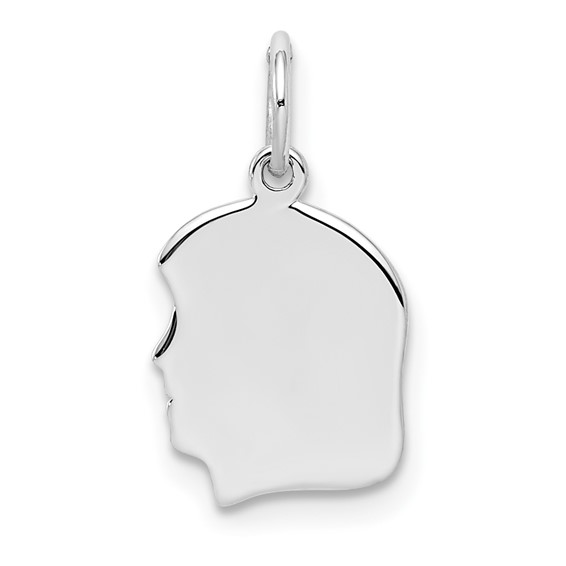 Sterling Silver Engravable Girl Profile Charm 7/16in