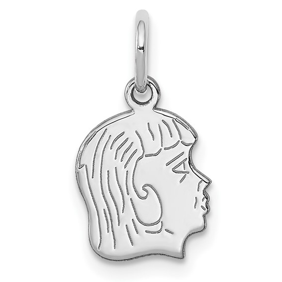 Sterling Silver Small Engravable Right Facing Girl Charm