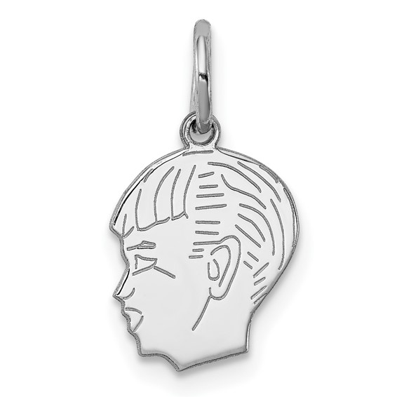 Sterling Silver 1/2in Engravable Boy Face Charm