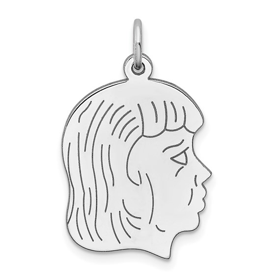 Sterling Silver 3/4in Engravable Girl Profile Charm