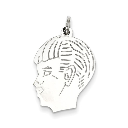 Sterling Silver Engravable Boy Face Charm 3/4in