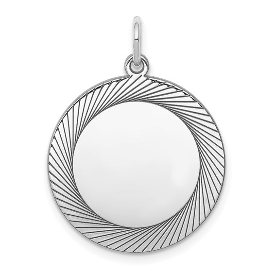 Sterling Silver 3/4in Engravable Round Charm with Lines
