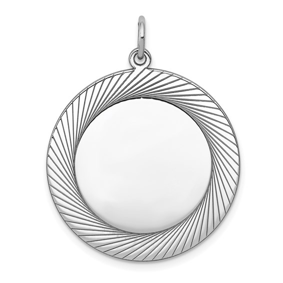 Sterling Silver 1in Engravable Round Pendant with Lined Border