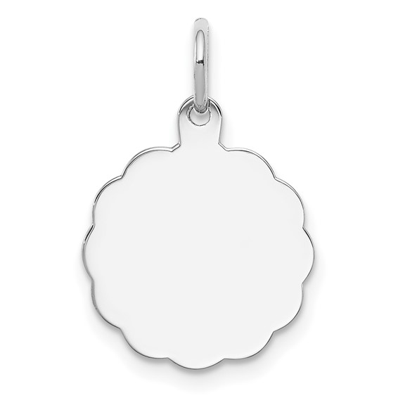 Sterling Silver 1/2in Engravable Rippled Charm