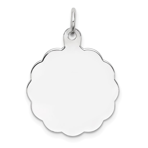 Sterling Silver 3/4in Engravable Scallop Edge Charm